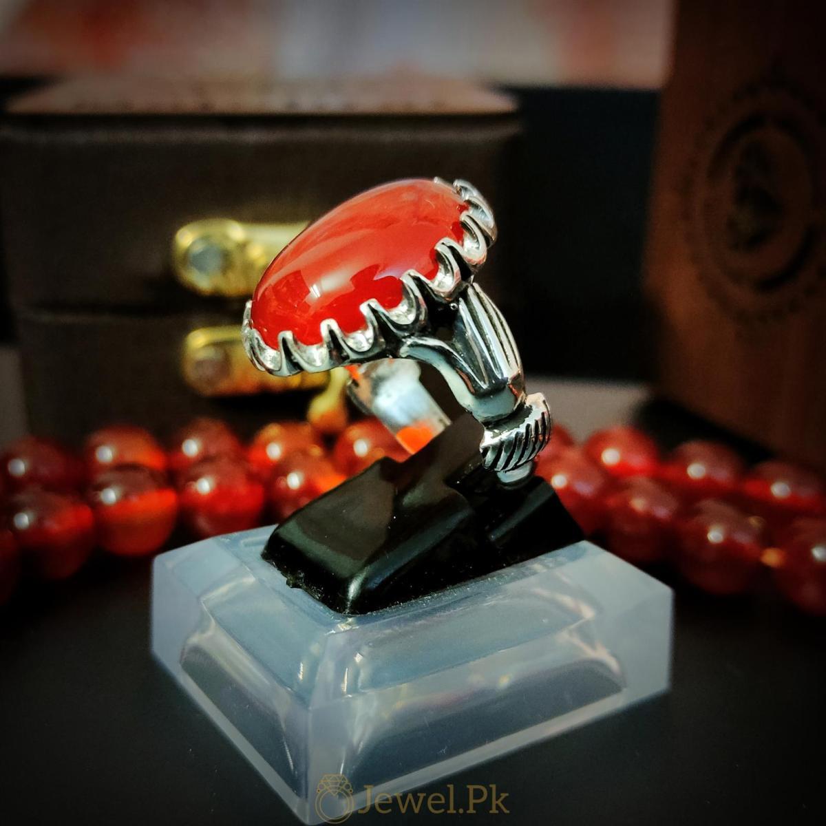 Beautiful Red Aqeeq Ring Yemeni Aqeeq Agate ring buy online 925 Silver Handmade Ring 6 natural gemstones pakistan + 925 silver jewelry online