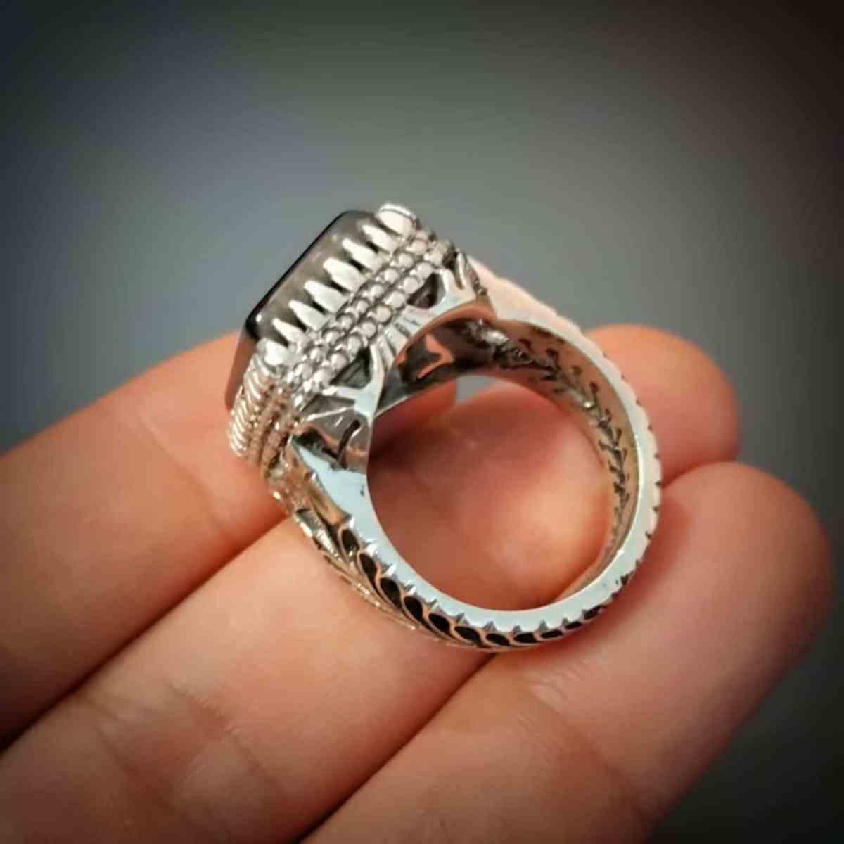 Black Aqeeq 925 Silver Handmade Ring 1 natural gemstones pakistan + 925 silver jewelry online