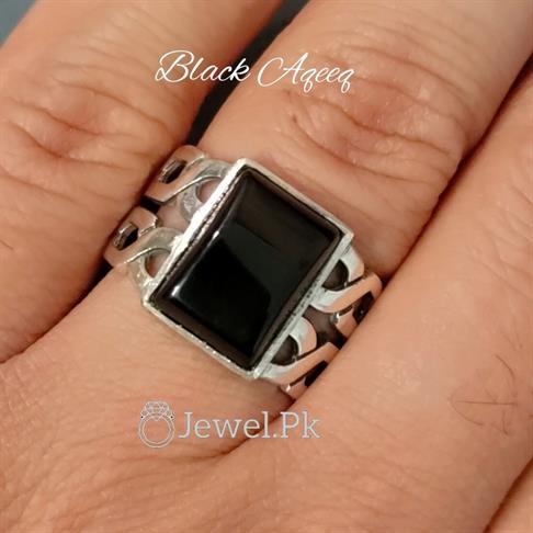 Black Aqeeq Ring 925 Silver chandi in Pakistan
