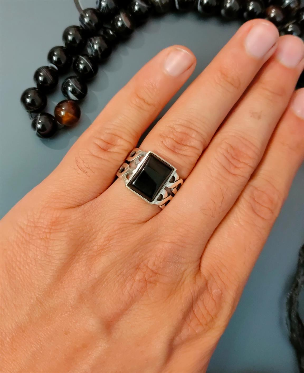 Black Aqeeq Ring 3 natural gemstones pakistan + 925 silver jewelry online