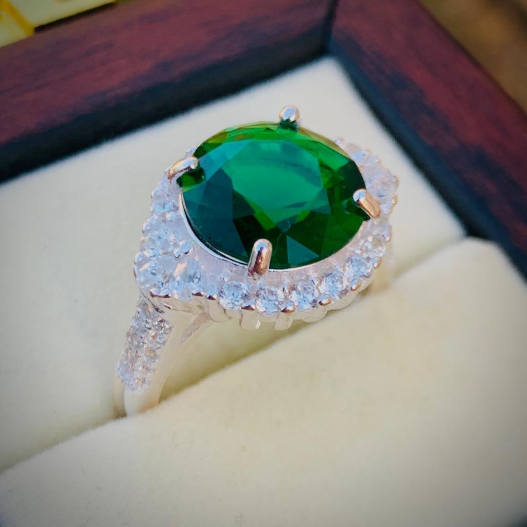 Green Zircon Ring 925 Silver