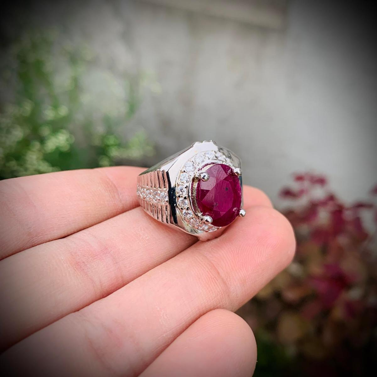 Natural Ruby Ring 407 3 natural gemstones pakistan + 925 silver jewelry online