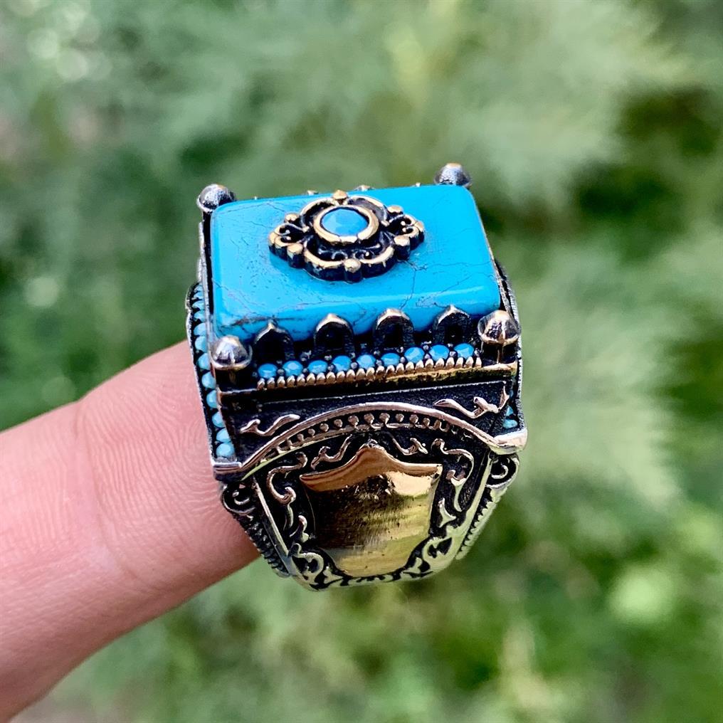 Turkish Rings Luxury 925 Silver 9 natural gemstones pakistan + 925 silver jewelry online