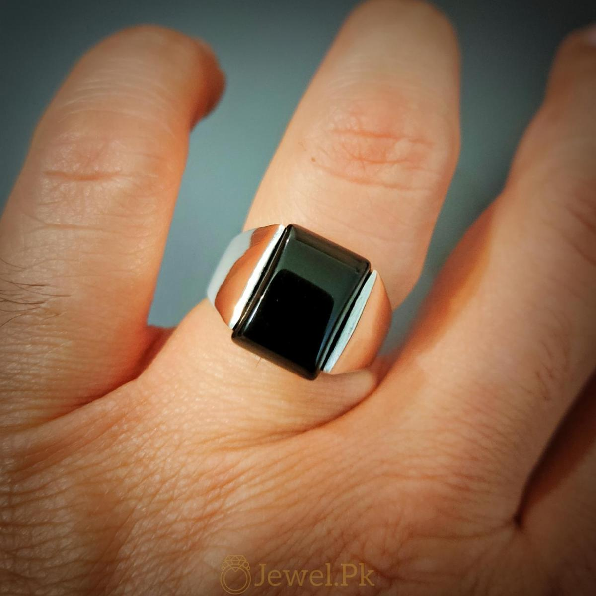 Very Decent Black Aqeeq Ring for man Decent and Beautiful 3 natural gemstones pakistan + 925 silver jewelry online