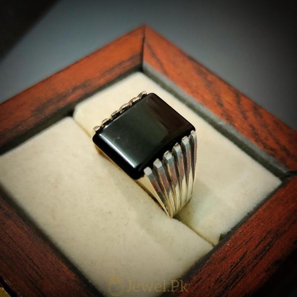 Classic Black Aqeeq Ring 925 Silver Handmade