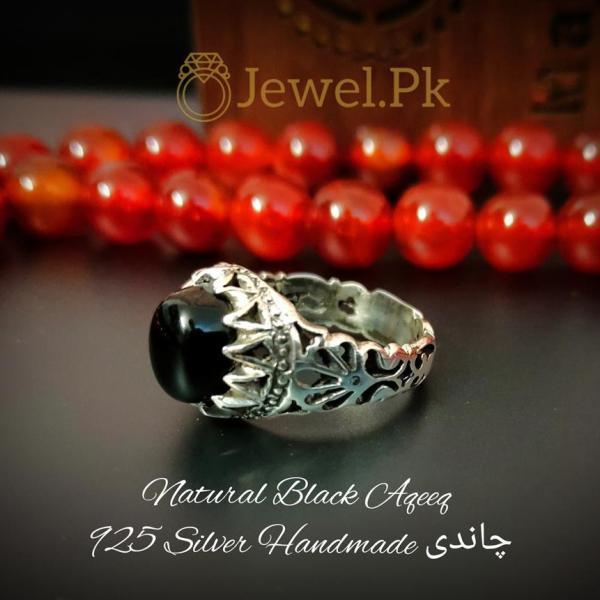 Black Irani Aqeeq RING + Irani Agate Handmade silver 925 Ring