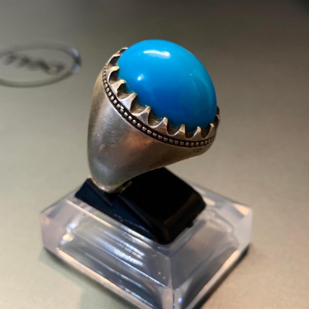 Dark Rare Color Clean Blue Feroza Nishapur Feroza Turquoise 2 natural gemstones pakistan + 925 silver jewelry online