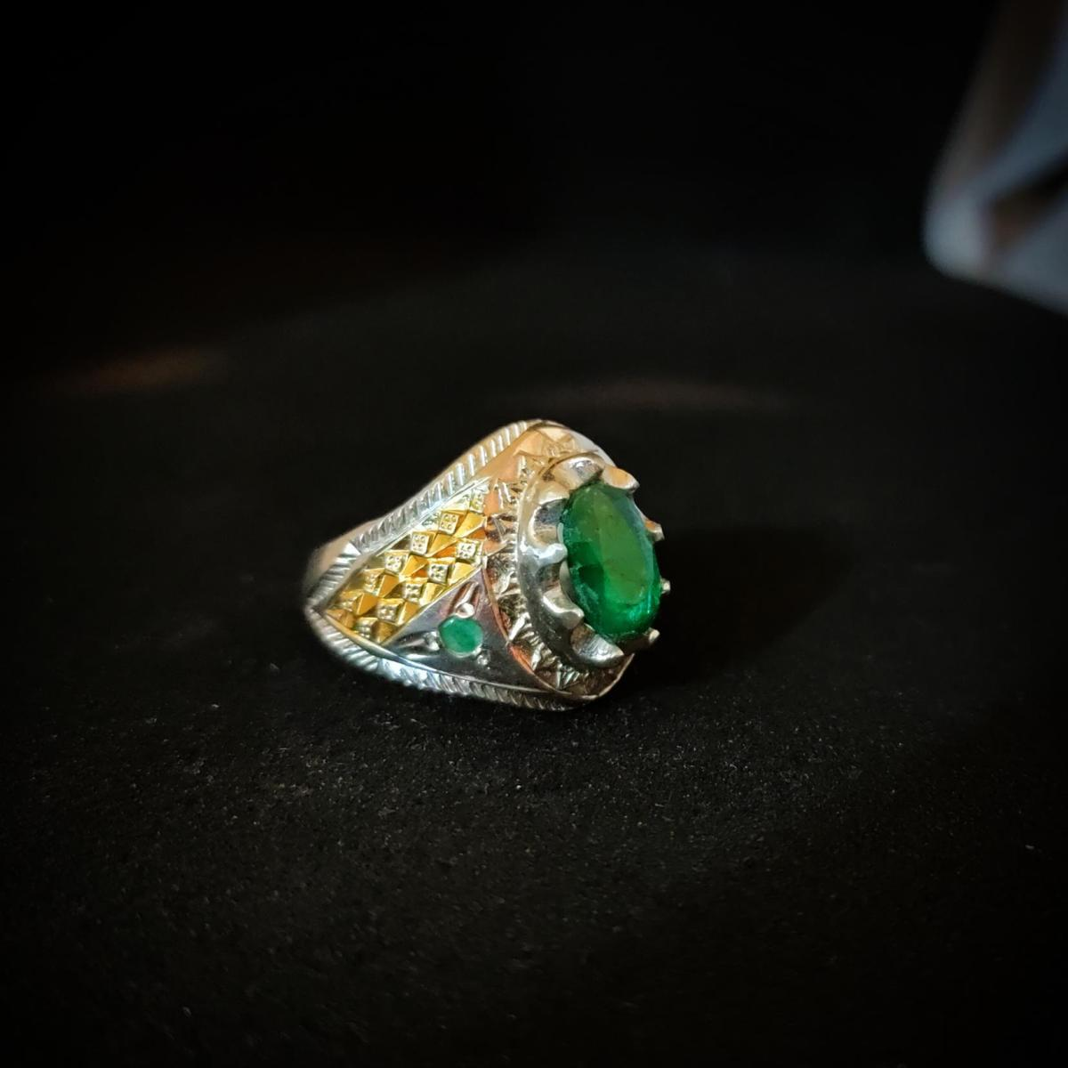 Natural Emerald Ring Handmade 925 Silver Zambian Emerald Zamurd Ring 10 natural gemstones pakistan + 925 silver jewelry online