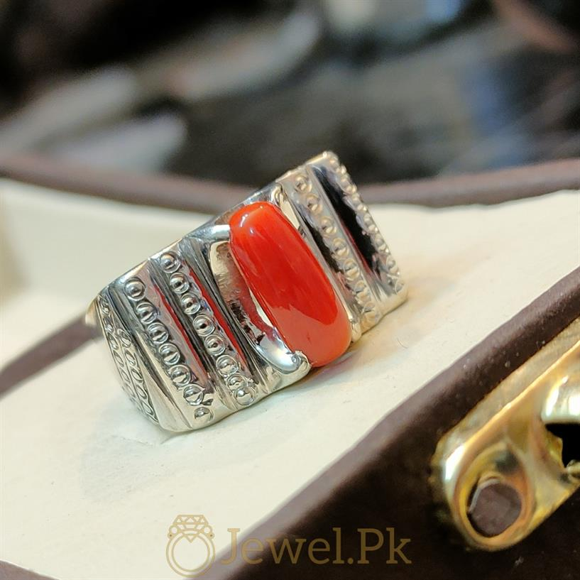 Natural Red Coral Marjaan Ring 1 natural gemstones pakistan + 925 silver jewelry online
