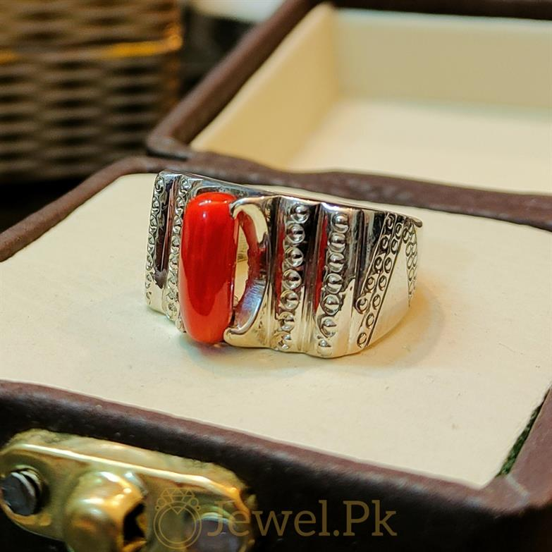 Natural Red Coral Marjaan Ring 3 natural gemstones pakistan + 925 silver jewelry online