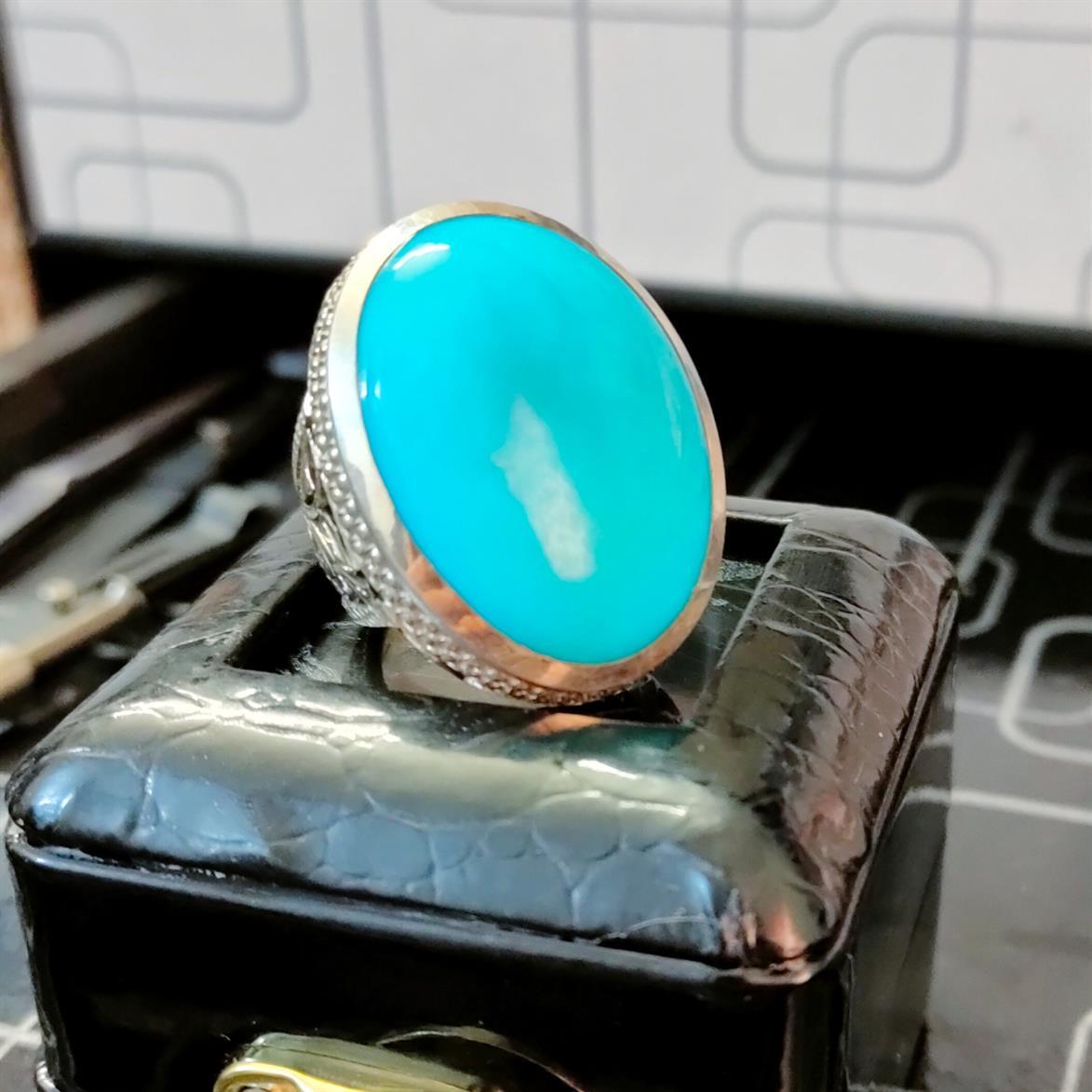 Natural Turquoise Feroza Ring Handmade Nishapur Feroza Ring 3 natural gemstones pakistan + 925 silver jewelry online