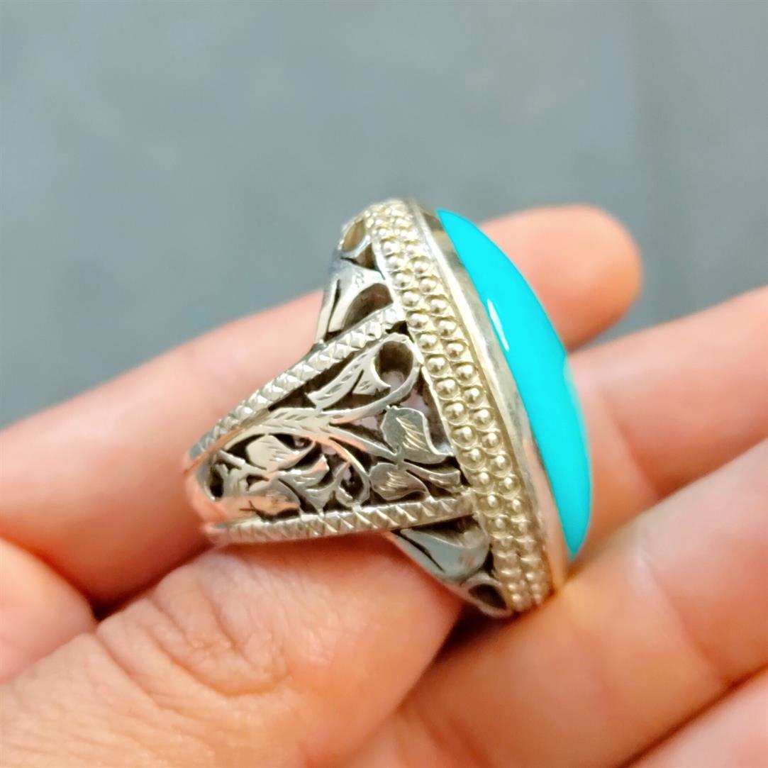 Natural Turquoise Feroza Ring Handmade Nishapur Feroza Ring 5 natural gemstones pakistan + 925 silver jewelry online