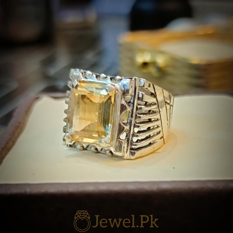 Yellow Citrine Lemon Quartz Stone Ring 1 natural gemstones pakistan + 925 silver jewelry online