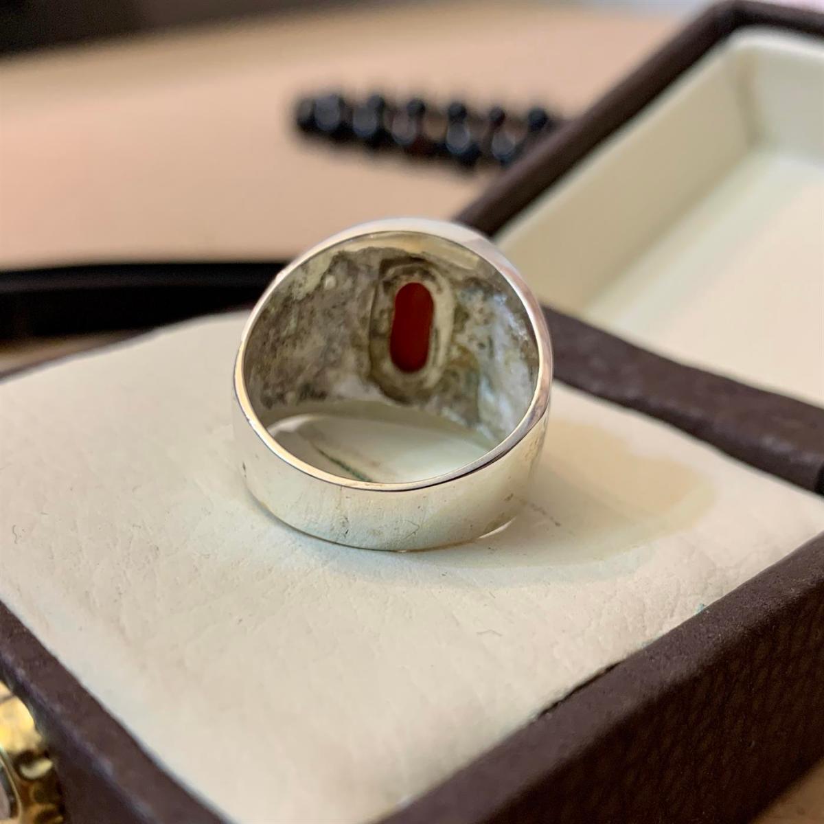Coral Marjaan Ring Beautiful 1 natural gemstones pakistan + 925 silver jewelry online