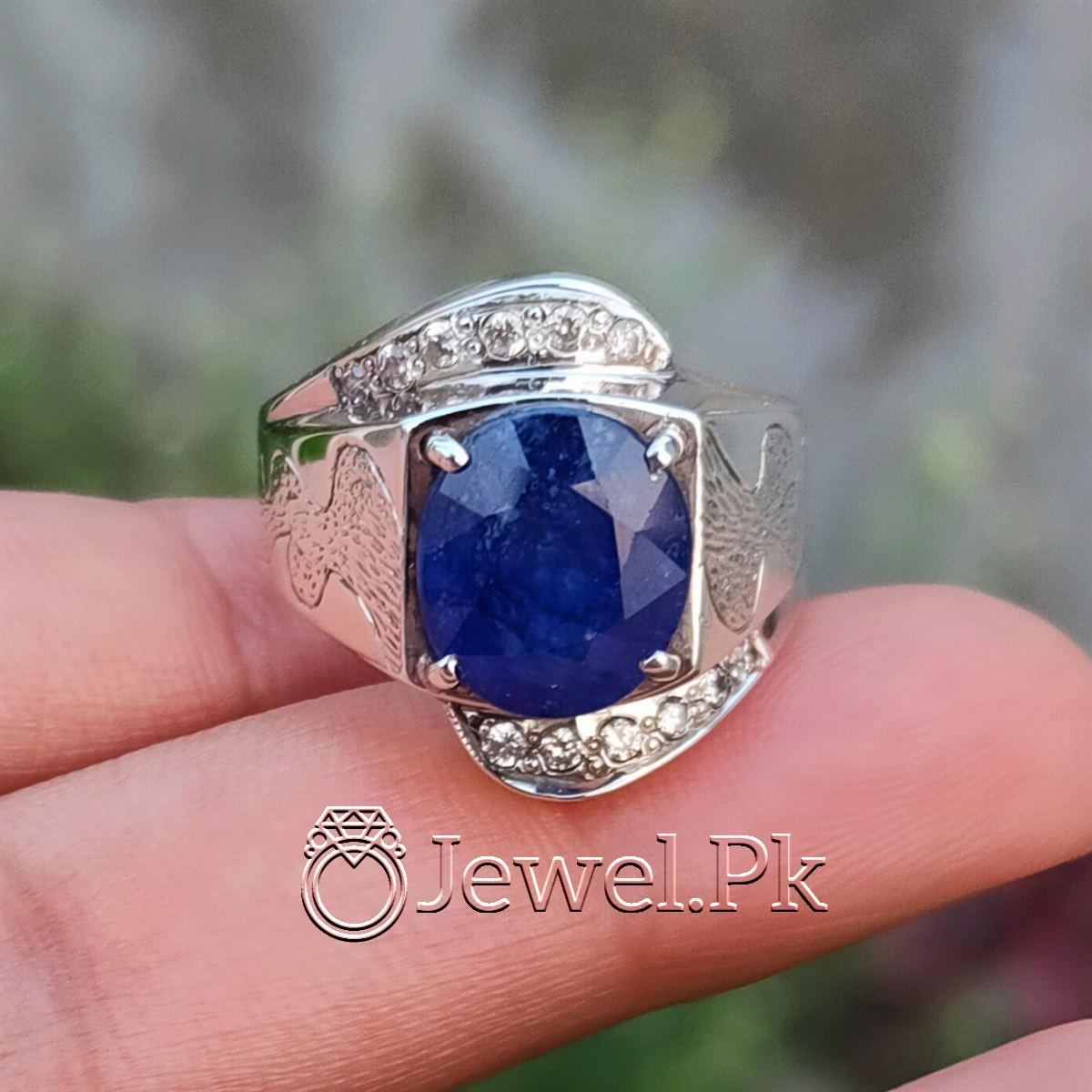 Natural Blue Sapphire Ring 925 Silver Chandi Handmade 5 natural gemstones pakistan + 925 silver jewelry online