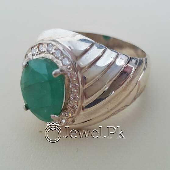 Natural Emerald Zamurd Stone with Pure Silver 925 Chandi 12 natural gemstones pakistan + 925 silver jewelry online