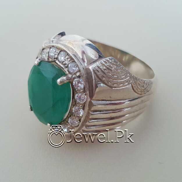 Natural Emerald Zamurd Stone with Pure Silver 925 Chandi 14 natural gemstones pakistan + 925 silver jewelry online