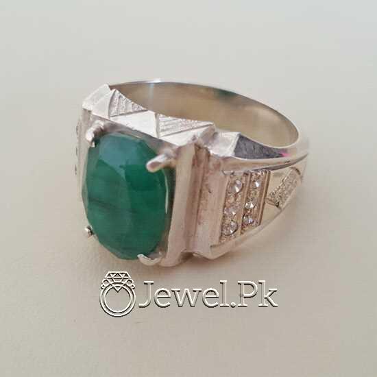 Natural Emerald Zamurd Stone with Pure Silver 925 Chandi 19 natural gemstones pakistan + 925 silver jewelry online