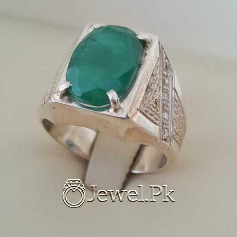 Natural Emerald Zamurd Stone with Pure Silver 925 Chandi 21 natural gemstones pakistan + 925 silver jewelry online