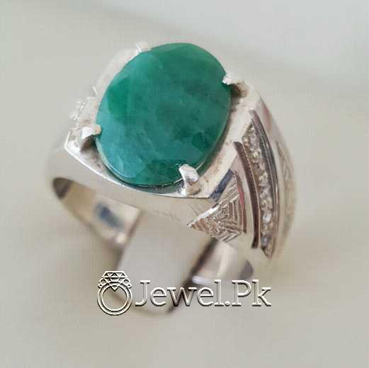 Natural Emerald Zamurd Stone with Pure Silver 925 Chandi 3 natural gemstones pakistan + 925 silver jewelry online