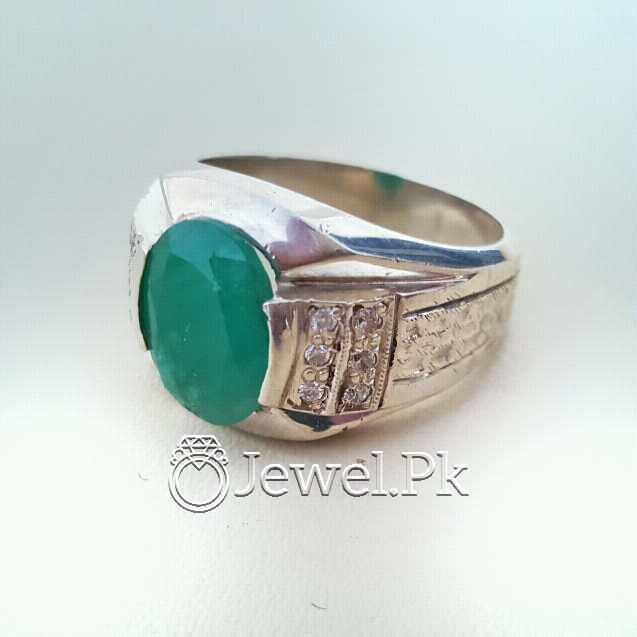Natural Emerald Zamurd Stone with Pure Silver 925 Chandi 31 natural gemstones pakistan + 925 silver jewelry online