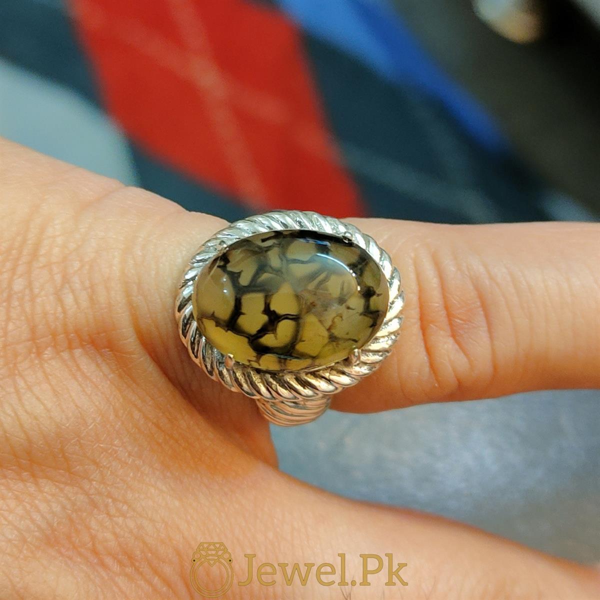 Natural Shajiri Aqeeq Ring Beautiful Aqeeq 2 natural gemstones pakistan + 925 silver jewelry online