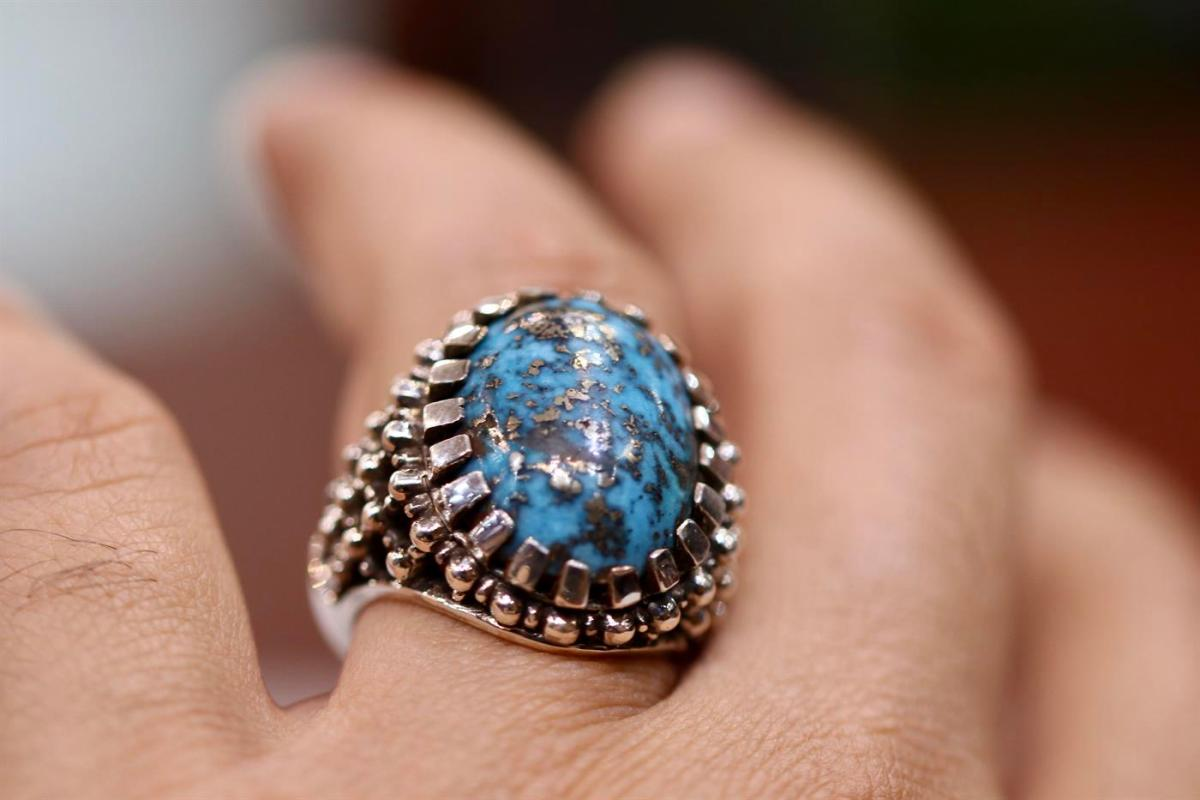 Natural Turquoise Ring Handmade Beautiful Shajri Feroza Pyrite Turquoise 4 natural gemstones pakistan + 925 silver jewelry online