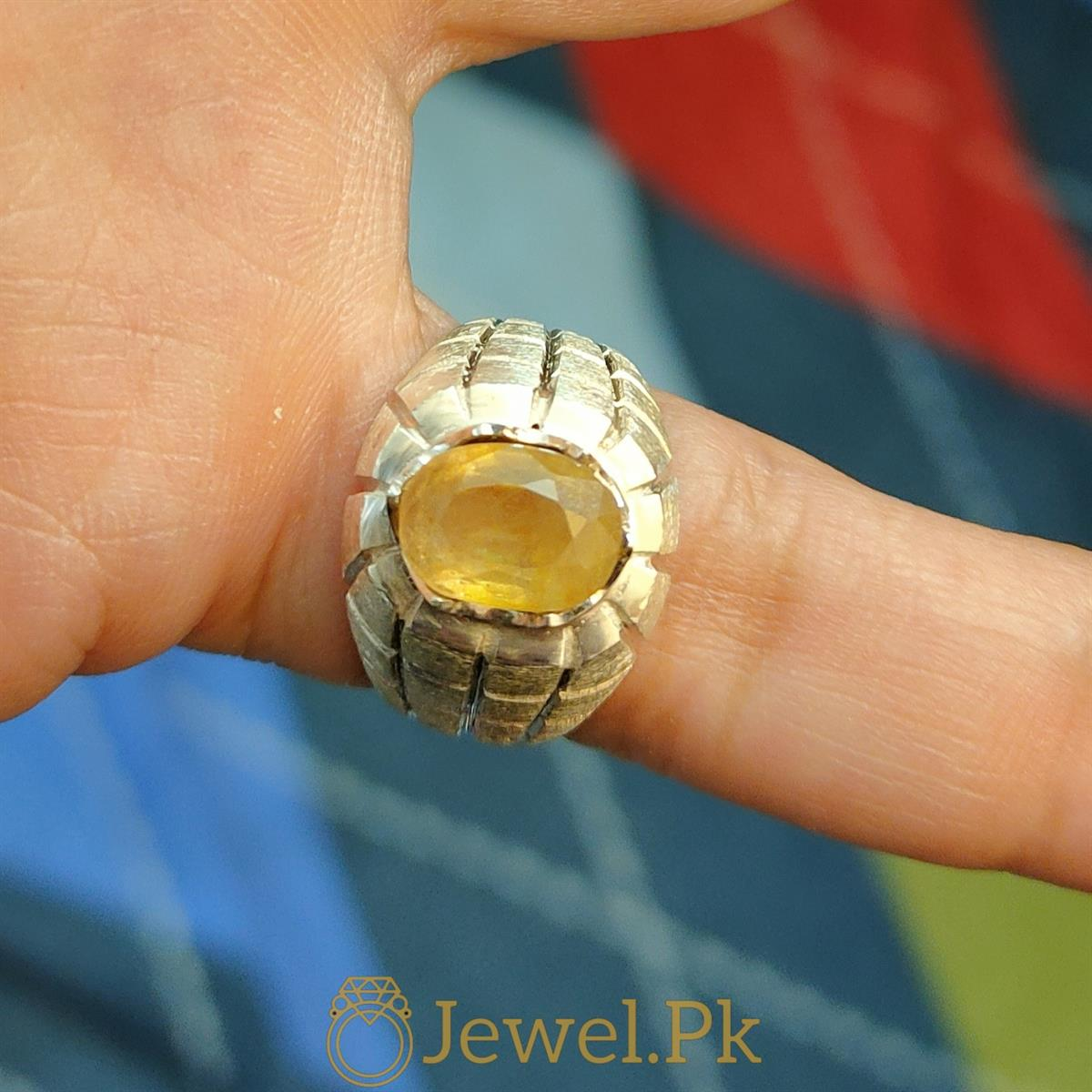 Natural Yellow Sapphire Ring Pukhraj Ring 4 natural gemstones pakistan + 925 silver jewelry online