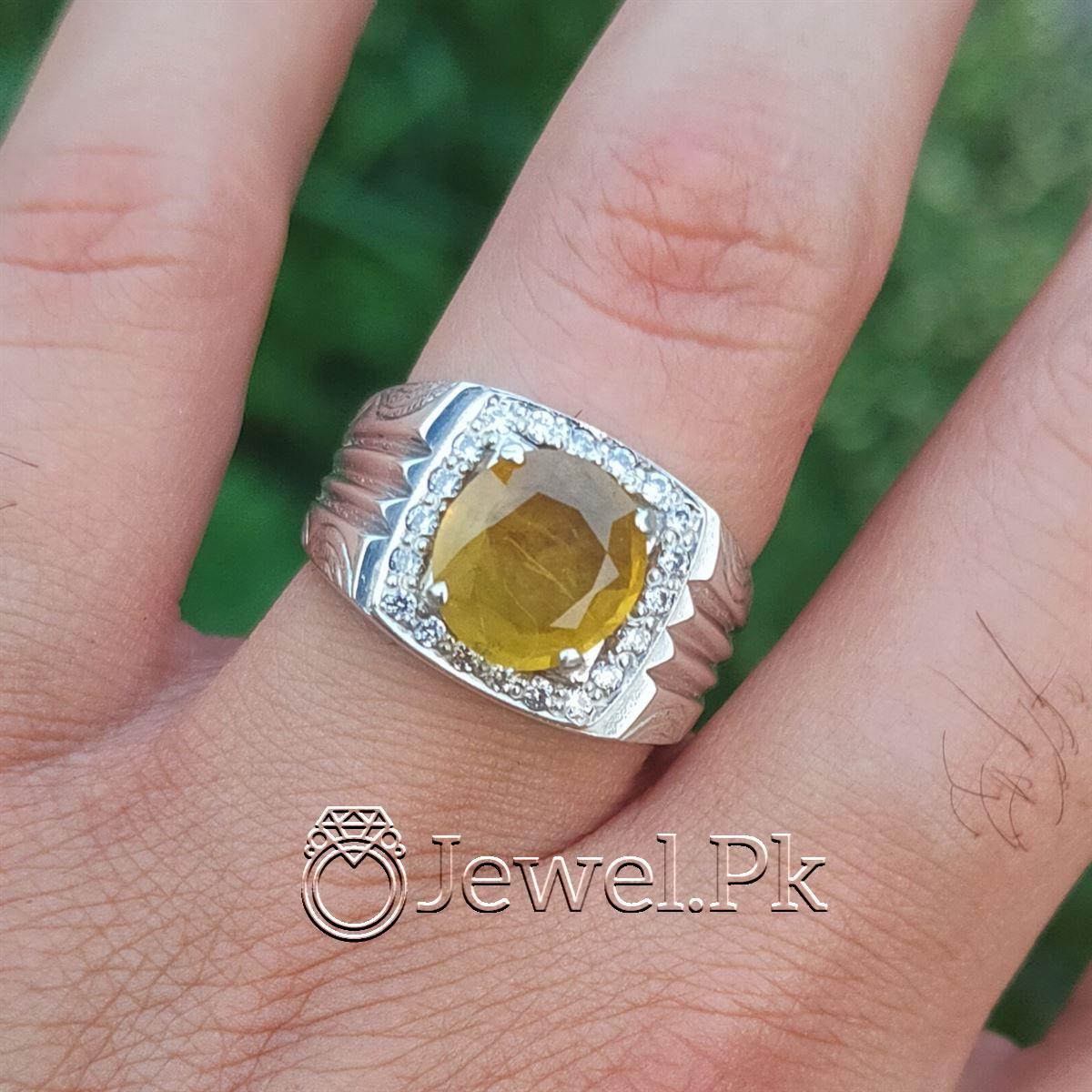 Natural Yellow Sapphire Ring Pukhraj Ring buy online Handmade Ring 5 natural gemstones pakistan + 925 silver jewelry online