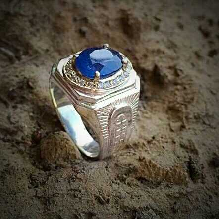 Natural Blue Sapphires 925 Silver Ring,
