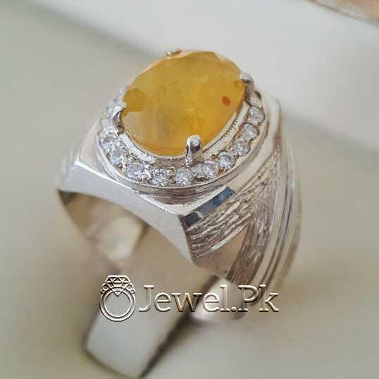 Real Silver 925 Chandi with Natural Yellow Sapphire Pukhraj Stone 17 natural gemstones pakistan + 925 silver jewelry online