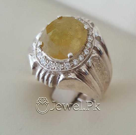 Real Silver 925 Chandi with Natural Yellow Sapphire Pukhraj Stone 2 natural gemstones pakistan + 925 silver jewelry online