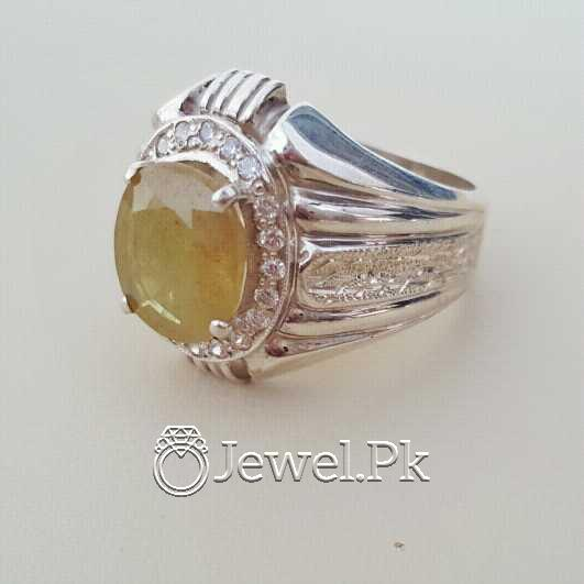 Real Silver 925 Chandi with Natural Yellow Sapphire Pukhraj Stone 3 natural gemstones pakistan + 925 silver jewelry online