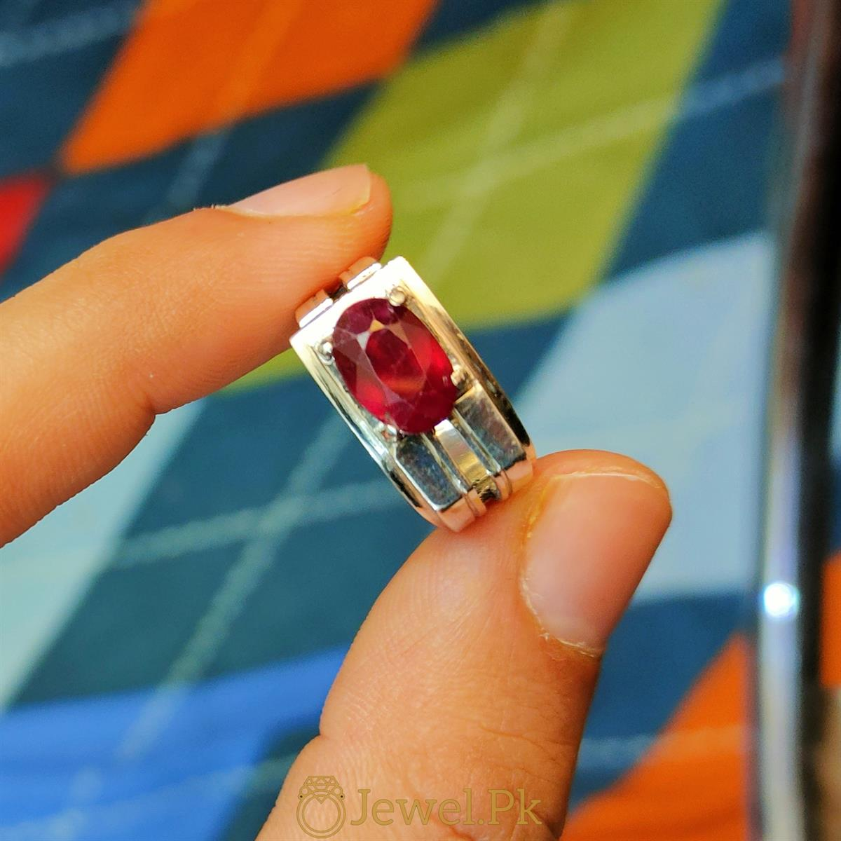 Ruby Ring Yaqoot Silver 925 Ring 2 natural gemstones pakistan + 925 silver jewelry online