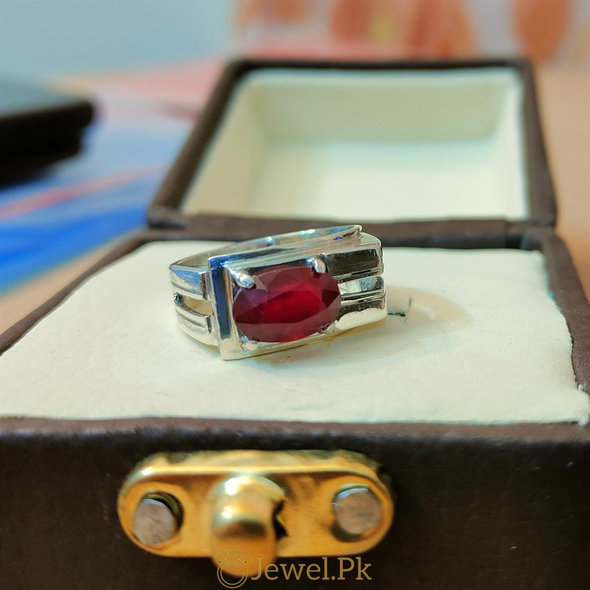 Ruby Ring Yaqoot Silver 925 Ring 3 natural gemstones pakistan + 925 silver jewelry online