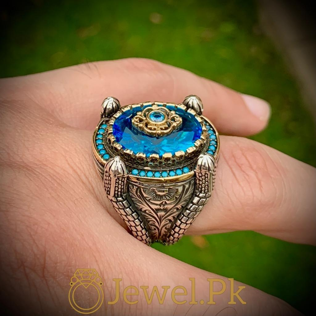 Turkish Rings Ottoman Ring Buy online Silver 925 Turkish Ring 14 natural gemstones pakistan + 925 silver jewelry online