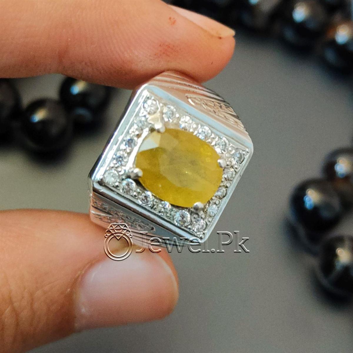 Yellow Sapphire Pukhraj Ring Handmade Silver 925 Chandi 10 natural gemstones pakistan + 925 silver jewelry online
