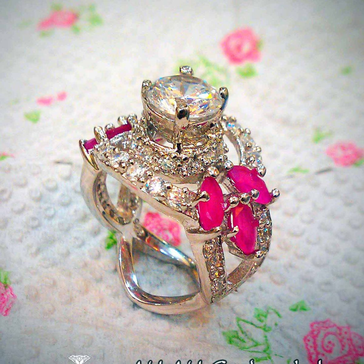 Beautiful Ladies Ring With Pink Grace and Leaf Styles 3 natural gemstones pakistan + 925 silver jewelry online