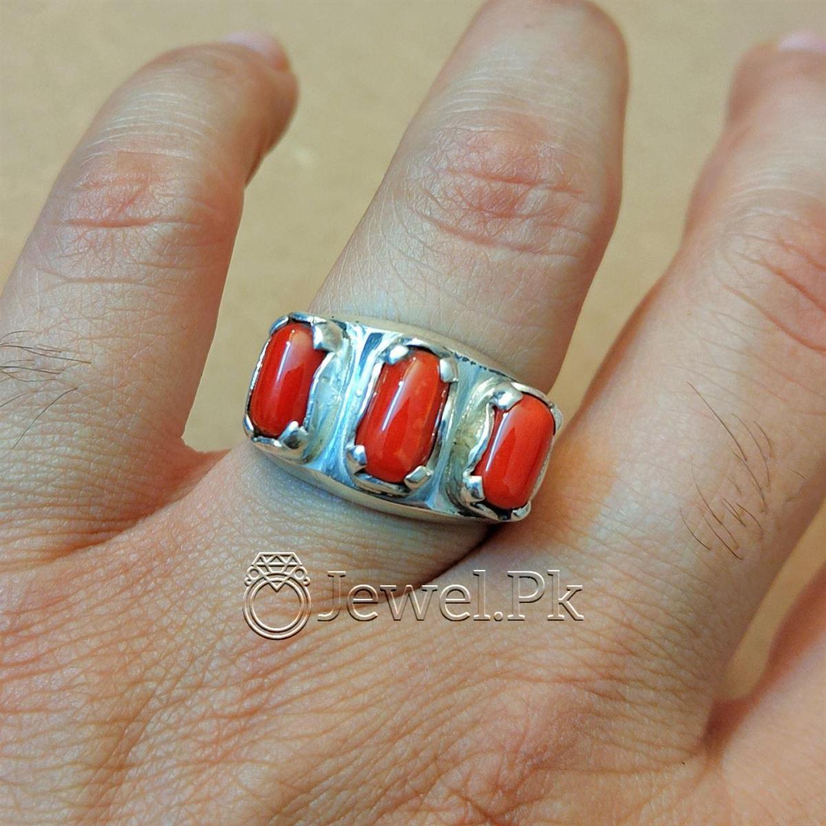 Natural Coral Marjan Ring Handmade 925 Silver Marjan stone 11 natural gemstones pakistan + 925 silver jewelry online