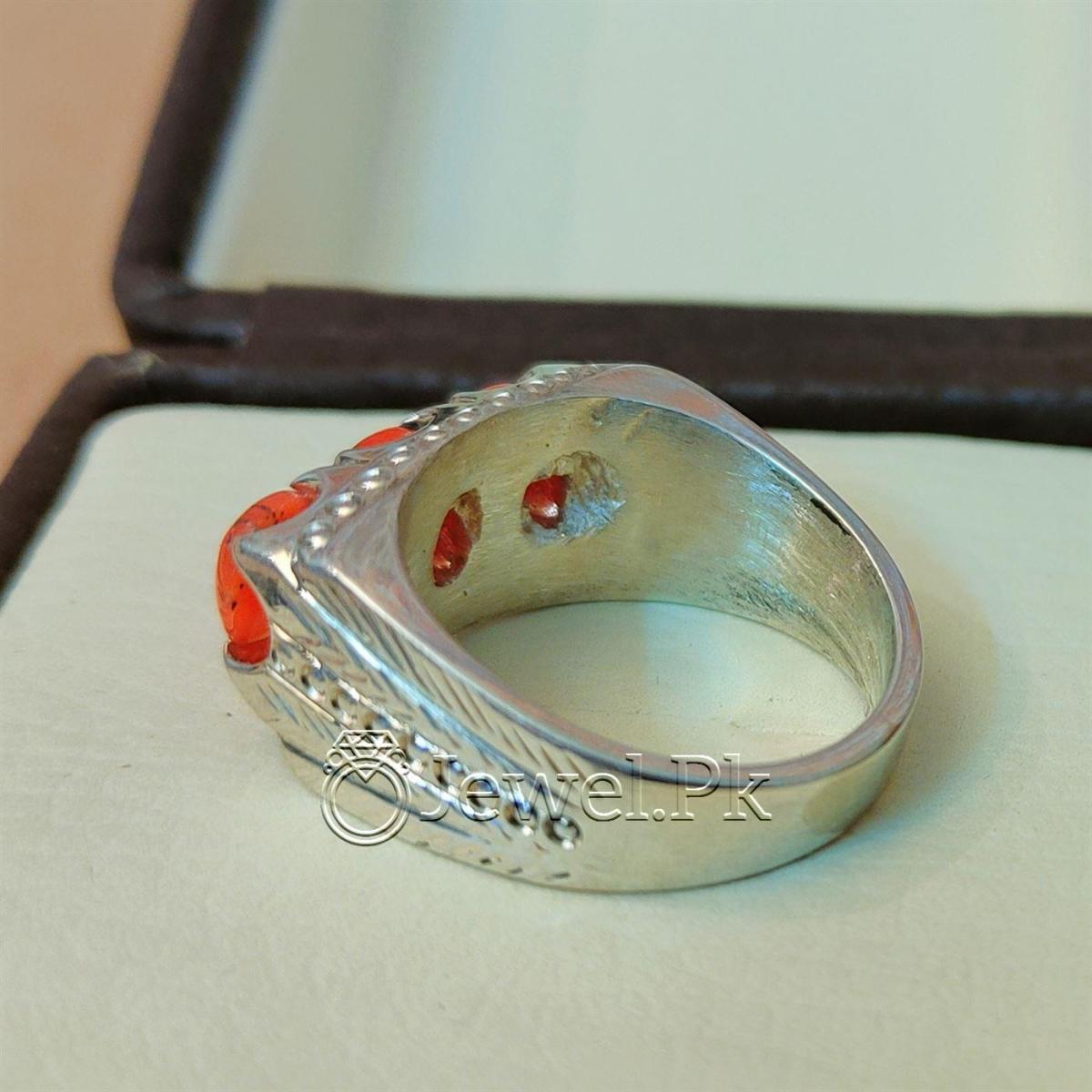 Natural Coral Marjan Ring Handmade 925 Silver Marjan stone 4 natural gemstones pakistan + 925 silver jewelry online