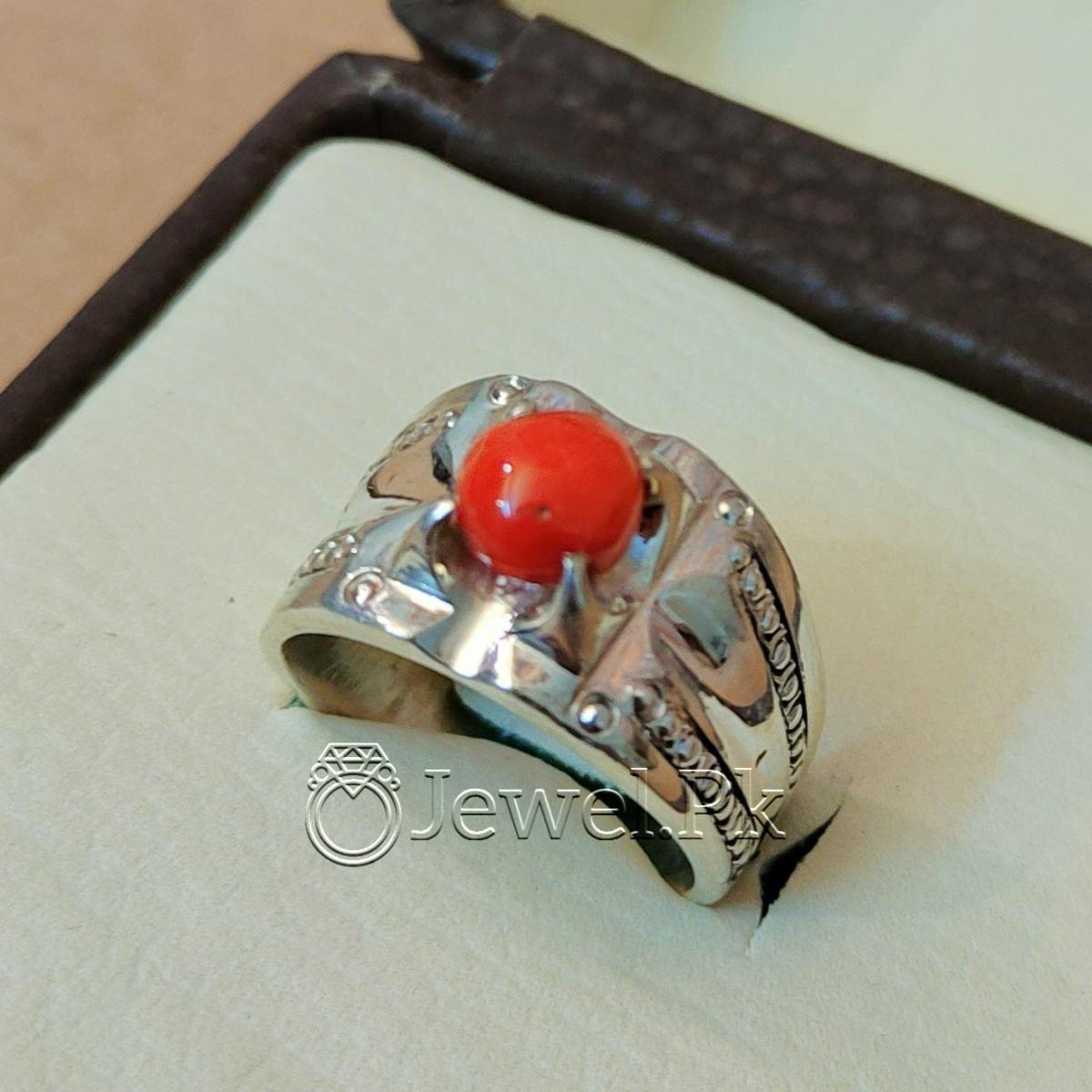 Natural Coral Marjan Ring Handmade 925 Silver Marjan stone 6 natural gemstones pakistan + 925 silver jewelry online