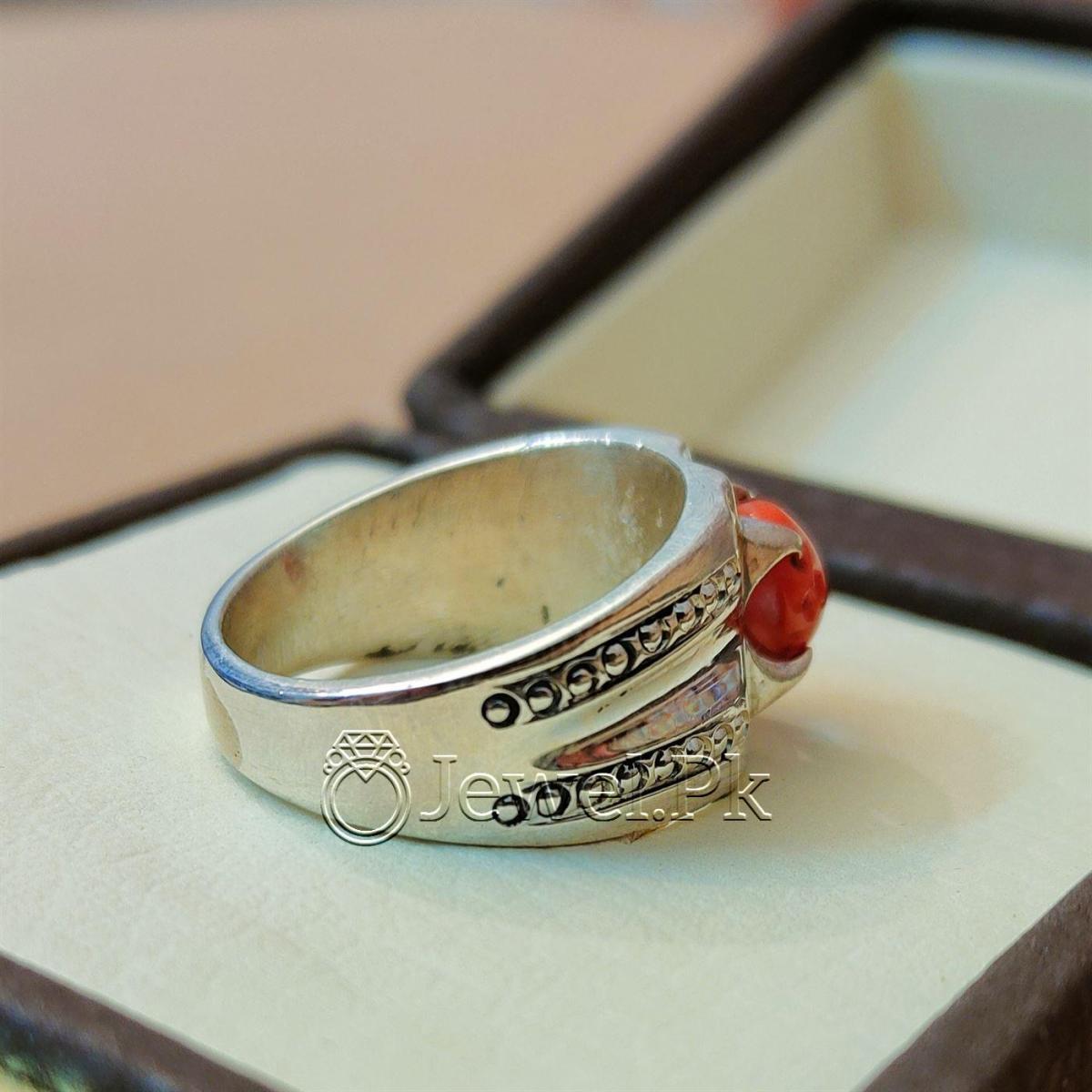 Natural Coral Marjan Ring Handmade 925 Silver Marjan stone 7 natural gemstones pakistan + 925 silver jewelry online