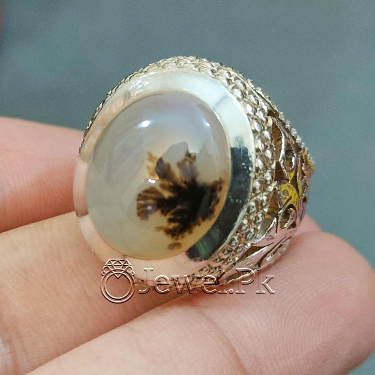 Natural Moss Agate Shajri Aqeeq Ring 925 Silver Chandi Ring Sajiri Aqiq 5 natural gemstones pakistan + 925 silver jewelry online