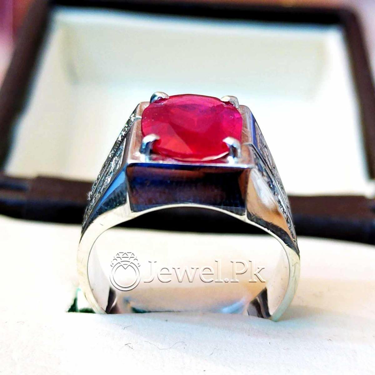 Natural Ruby Yaqoot Ring 925 Silver Handmade 2 natural gemstones pakistan + 925 silver jewelry online