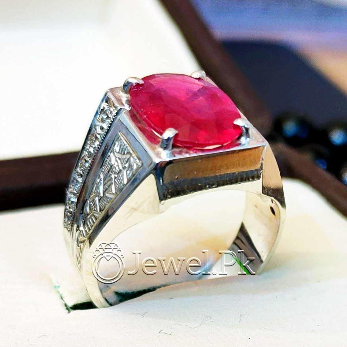 Natural Ruby Yaqoot Ring 925 Silver Handmade 3 natural gemstones pakistan + 925 silver jewelry online