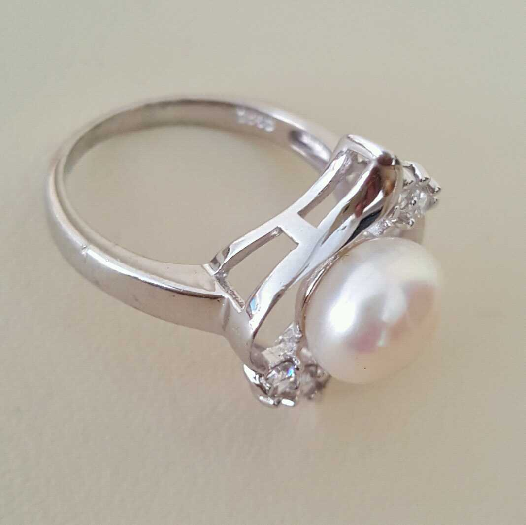 Real Pearl with 925 Silver Beautiful Women Ring 2 natural gemstones pakistan + 925 silver jewelry online