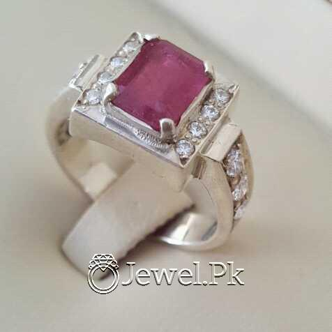 Real Silver 925 Chandi with Natural Ruby Yaqoot Stone 14 natural gemstones pakistan + 925 silver jewelry online