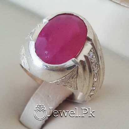 Real Silver 925 Chandi with Natural Ruby Yaqoot Stone 39 natural gemstones pakistan + 925 silver jewelry online