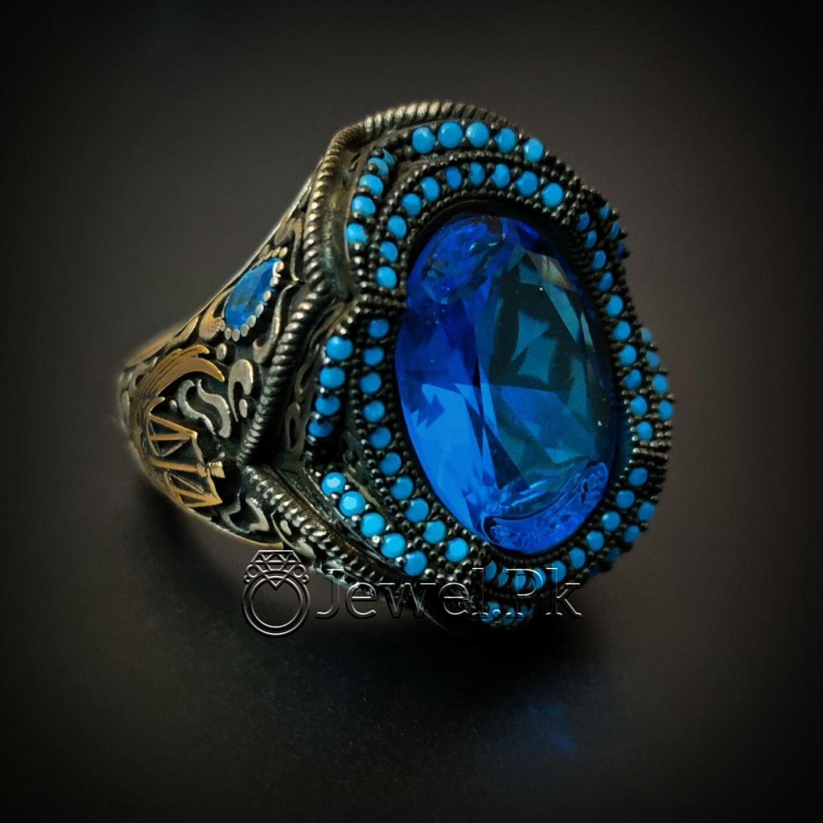 Turkish Ring 925 Silver Chandi Turkey Rings 2 natural gemstones pakistan + 925 silver jewelry online