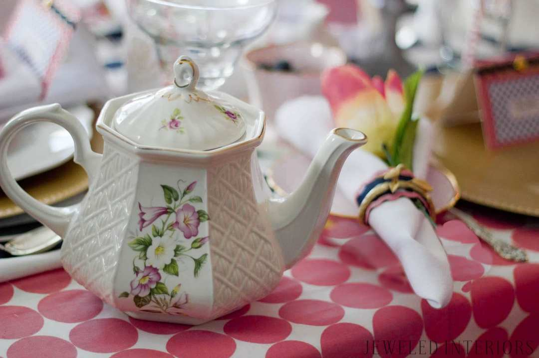 Vintage Tea set meets preppy brunch, Jeweled Interiors, pink polka dot, silver, navy, gold, charger, place card, flower, napkin